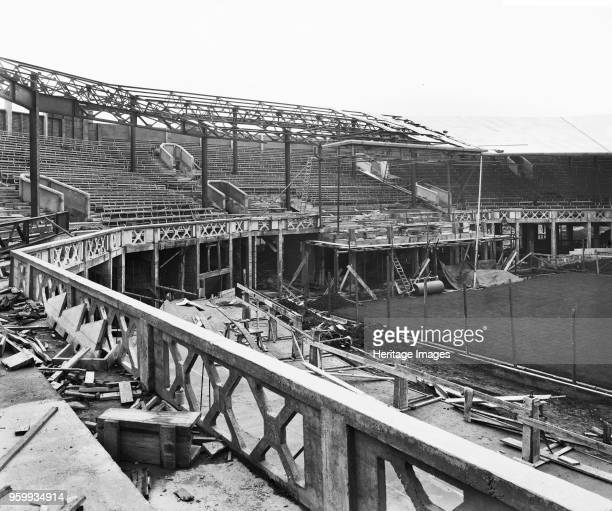Centre Court under construction All England Lawn Tennis and Croquet Club Church Road Wimbledon London 1922 The construction of tiered seating and the...