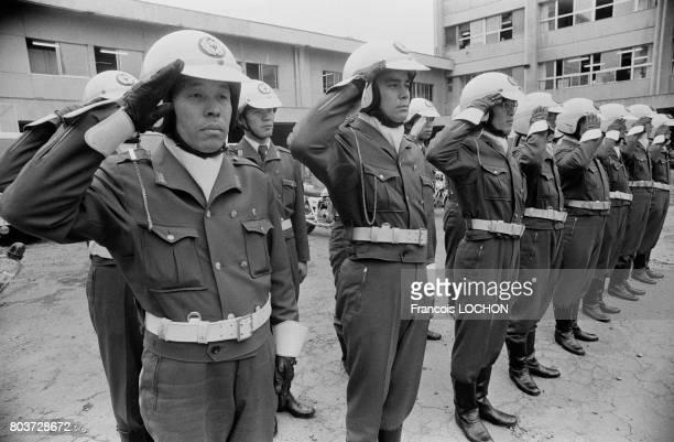 Centre de formation des motards de la police à Tokyo en mai 1979 au Japon