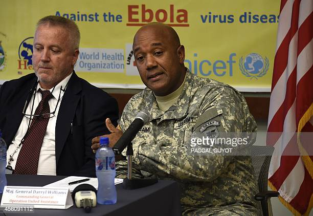 Centre for Diseases Control epidemiologist Frank Mahoney and US Major General Darryl Williams commander of the US military's Operation United...