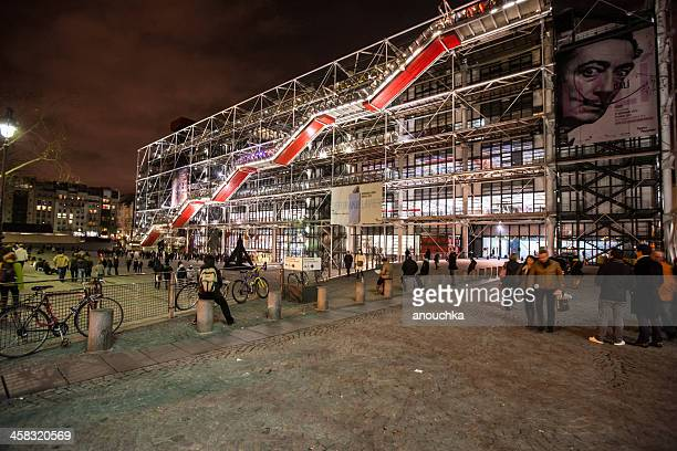 centre george pompidou by night, paris - centre georges pompidou stock pictures, royalty-free photos & images