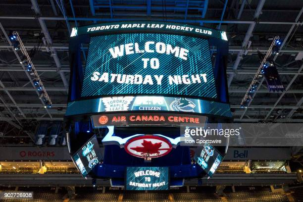 Centre Ice electronic Scoreboard with the Team slogan Welcome to Saturday Night as seen before the regular season NHL game between the Vancouver...