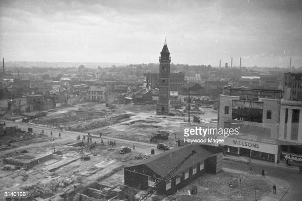Centre of Coventry flattened after German air raids in WW II Original Publication Picture Post Coventry unpub