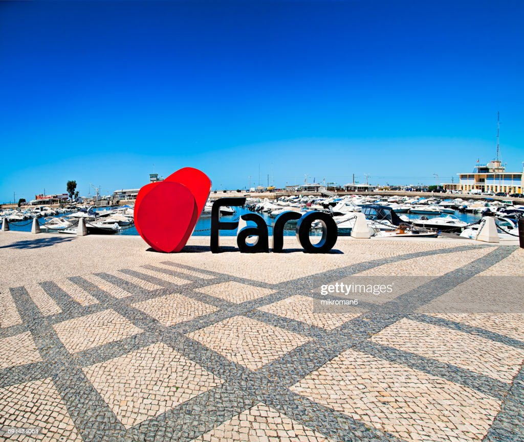 Centre of Faro city on hot summer day. : Stock Photo