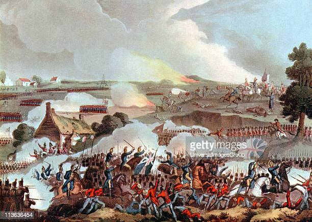 Centre of the British army in action at Waterloo 18 June 1815 the last battle of the Napoleonic Wars After W Heath