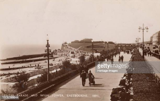 Centre Parade and Wish Tower, Eastbourne, 1935. View of the seafront at the popular resort of Eastbourne on the Sussex coast. Martello towers were...