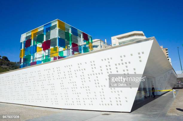 centre pompidou malaga modern art museum - daniel buren stock pictures, royalty-free photos & images