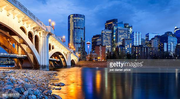 centre street bridge, bow river, calgary, alberta, canada - calgary stock pictures, royalty-free photos & images