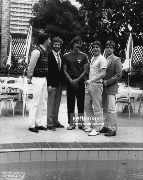 Centre West German Frank Otto talking to Canadian players not lt to rt Simon Deschampe Sylvain Huet John McMaster and Rick Zyonc January 04 1984