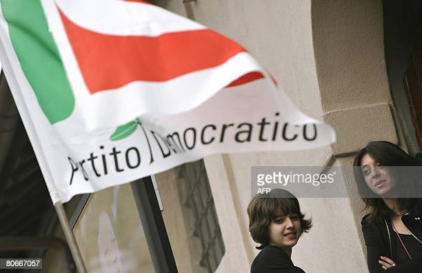Centre-left leader Walter Veltroni's daughters Martina and Vittoria look at journalists at the Democratic Party campaign headquarter in Rome on April...