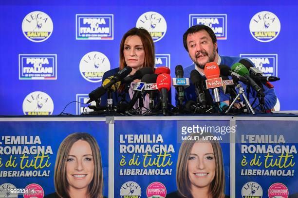 Centre-right Senator and regional candidate Lucia Borgonzoni and leader of Italy's far-right League party, Matteo Salvini address a press conference...