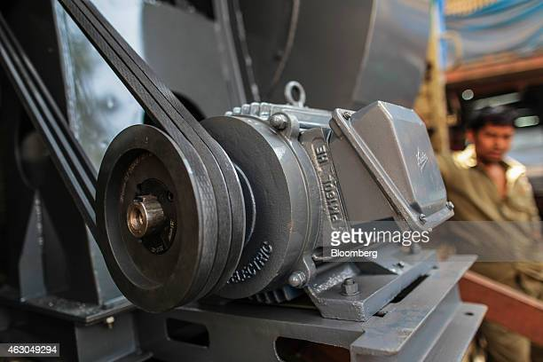 A centrifugal air blower sits on a truck at an Ishwar Engineering Co factory in Mumbai Maharashtra India on Saturday Feb 7 2015 The International...