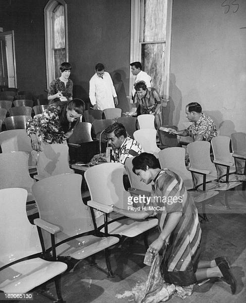 AUG 26 1968 AUG 29 1968 SEP 1 1968 Centro Cultural board members brightening up interior of new center are foreground Sister Lydia Marie Pena Loretto...