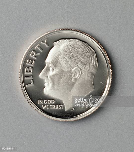 Cents coin, 1990-1999, obverse, Franklin Delano Roosevelt . United States of America, 20th century.