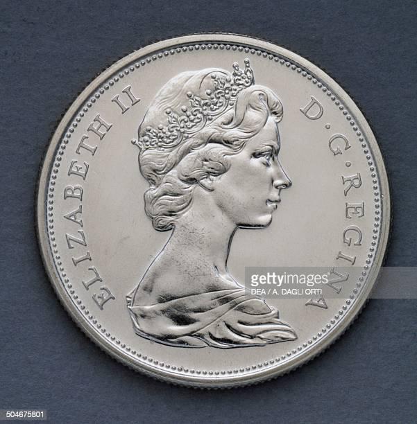 Cents coin obverse, queen Elizabeth II . Canada, 20th century.