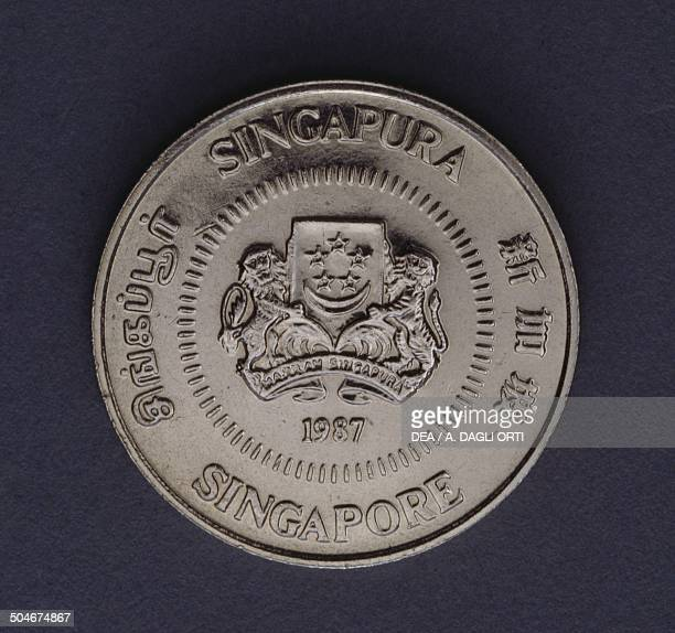 50 cents coin obverse Singapore 20th century