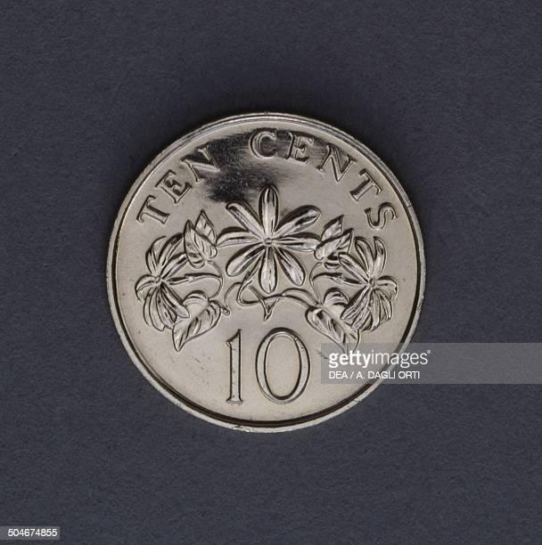 10 cents coin reverse Jasminum multiflorum Singapore 20th century
