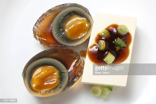 Century egg served with tofu