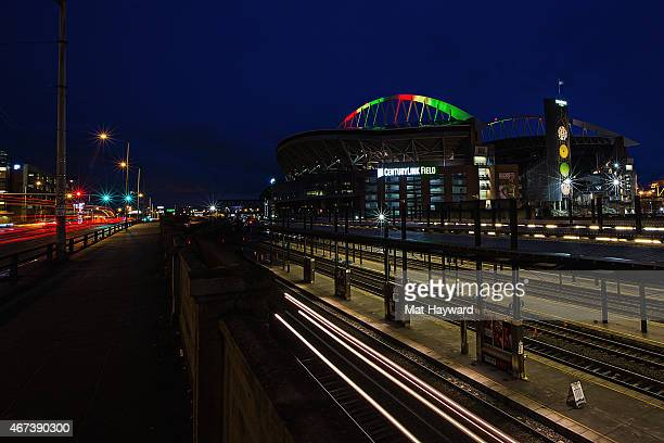 Century Link Field is illuminated in participation with National Landmarks Illuminated Across US To Shine Light On Ebola Crisis And Show Solidarity...