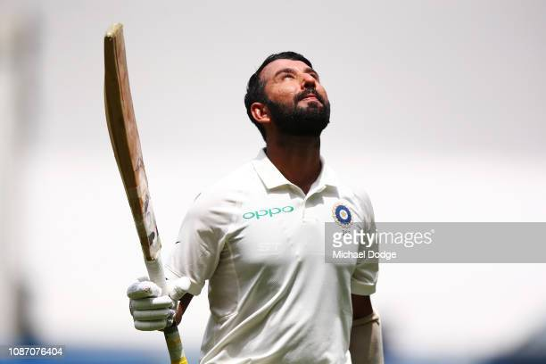 Century maker Cheteshwar Pujara of India looks to the sky after his dismissal during day two of the Third Test match in the series between Australia...