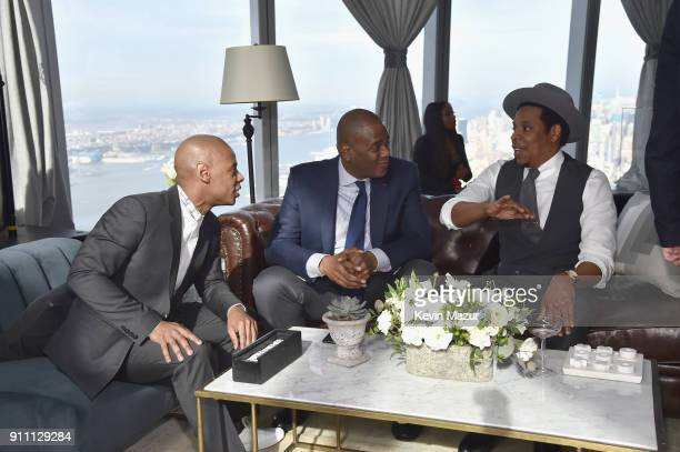 Chairman of Warner Chappell Music Jon Platt and JayZ attend Roc Nation THE BRUNCH at One World Observatory on January 27 2018 in New York City