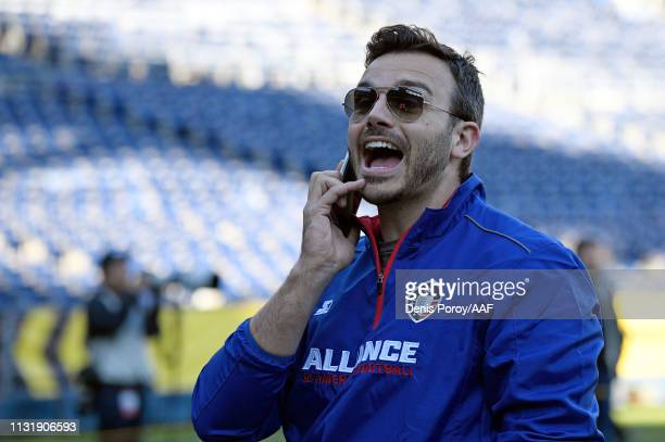 CEO/cofounder Charlie Ebersol of the Alliance of American Football watches action prior to an Alliance of American Football game between the San...