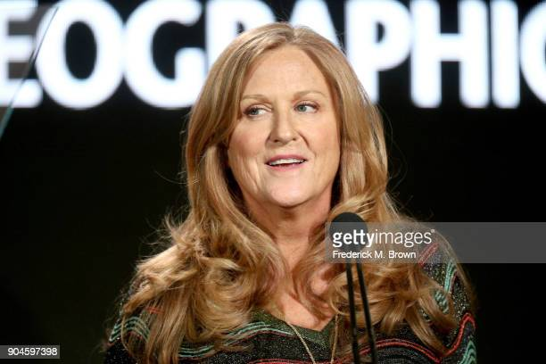 CoFounder of Revelations Entertainment cofounded by Morgan Freeman Lori McCreary speaks onstage during the National Geographic Channels portion of...