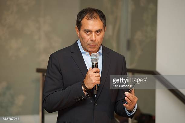 Founder Bhalin Singh speaks to the audience at the Fundraiser Event For Rock The Elephant at Hotel Bel-Air on October 27, 2016 in Los Angeles,...