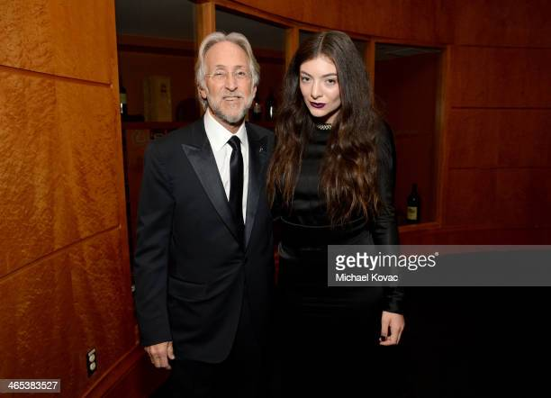 President of the National Academy of Recording Arts Sciences Neil Portnow and recording artist Lorde attend the 56th GRAMMY Awards at Staples Center...