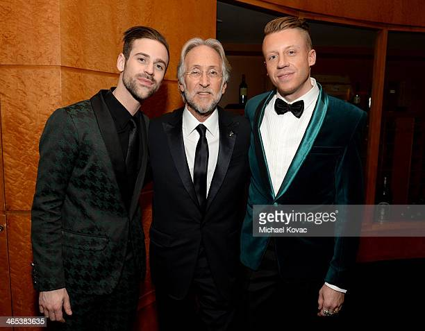 President of the National Academy of Recording Arts Sciences Neil Portnow and recording artists Ryan Lewis and Macklemore attend the 56th GRAMMY...
