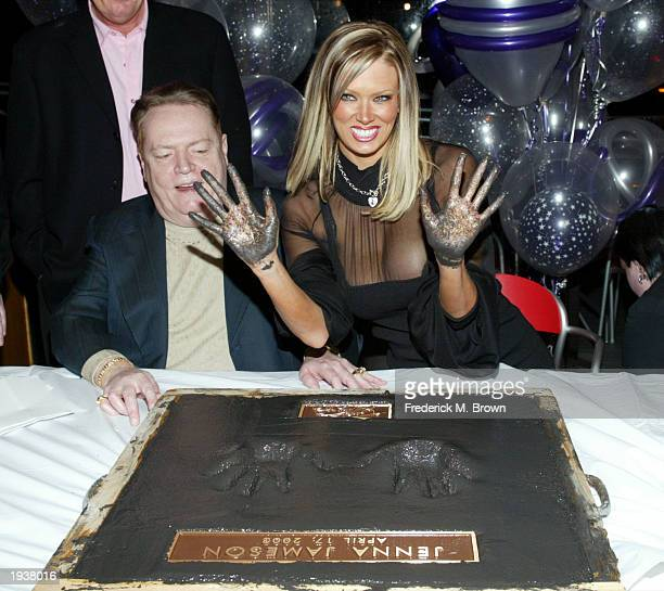 Producer Larry Flynt and actress Jenna Jameson attend Jameson's ceremony inducting her into the Hustler Walk of Fame at Hustler Hollywood on April...