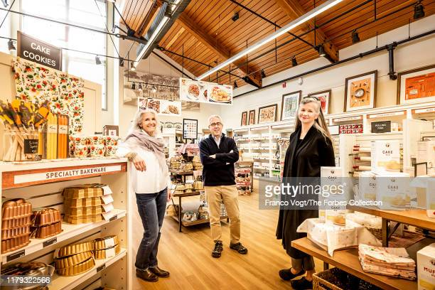 CEOs of King Arthur Flour Karen Colberg Ralph Carlton and Suzanne McDowell are photographed for Forbes Magazine on April 16 2019 at the company's...
