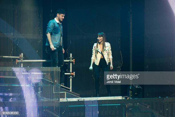 Cepeda and Aitana of Operacion Triunfo perform on stage during the concert rehearsal at Palau Sant Jordi on March 2 2018 in Barcelona Spain