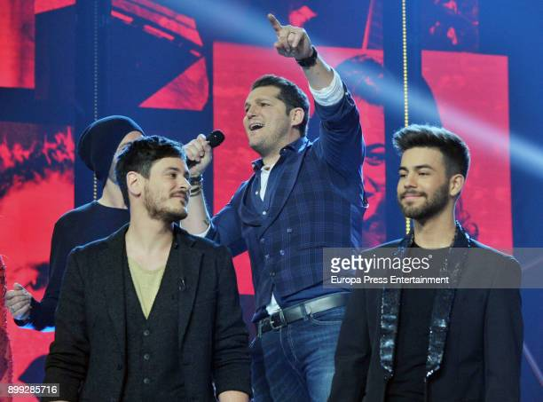 Cepeda Manu Tenorio and Agoney attend the 'Operacion Triunfo' Tv show on December 25 2017 in Barcelona Spain