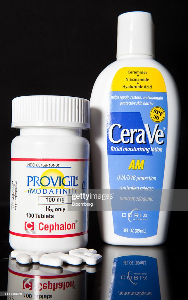 Cephalon Inc.'s Provigil, used to treat excessive sleepiness caused by narcolepsy, left, and CeraVe skin cleanser, made by Valeant Pharmaceutical's Coria Laboratories division, are arranged for photograph at a pharmacy in New York, U.S., on Wednesday, March 30, 2011. Cephalon Inc. surged 28 percent to $75.20 in Nasdaq trading, higher than a hostile takeover bid from Valeant, Canada's largest drugmaker. Valeant Pharmaceuticals International Inc. made its cash offer of about $5.7 billion, or $73 a share, public last night after its private approaches were rejected, the company said. Photographer: JB Reed/Bloomberg via Getty Images