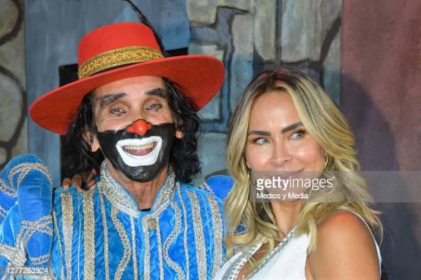 Cepillín and Aylin Mujica pose for a photo during a press conference to present 'El Cuarentenorio' a especial version of 'Tenorio Comico' at Centro...