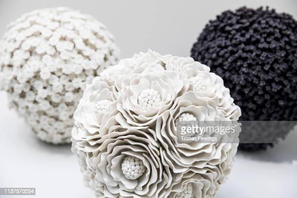 Ceramic art work by Vanessa Hogge on display during the Ceramic Art London fair at Central Saint Martins on March 22, 2019 in London, England....