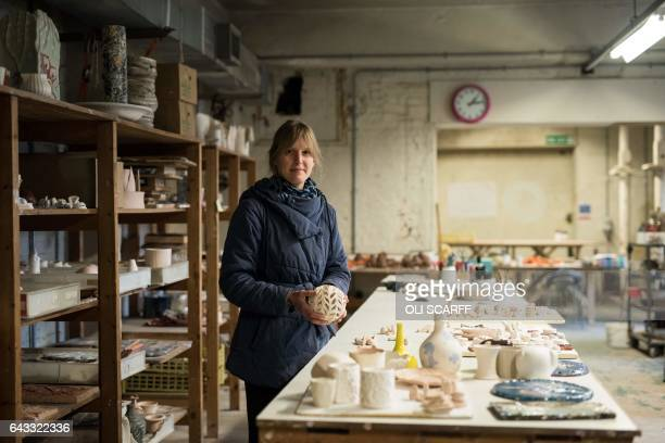 Ceramic artist Joanne Ayre poses for a photograph in her studio located on the site of the former Spode pottery in StokeonTrent central England on...