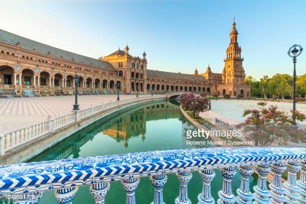 ceramic balustrade, plaza de espana, seville - seville stock pictures, royalty-free photos & images