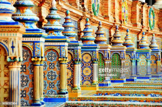 ceramic balustrade, seville, andalusia, spain - seville stock pictures, royalty-free photos & images