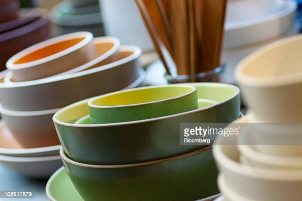 Ceramic bowls are displayed at the Heath Ceramics Ltd store at the Ferry Building in San Francisco California US on Saturday Feb 5 2011 Robin...