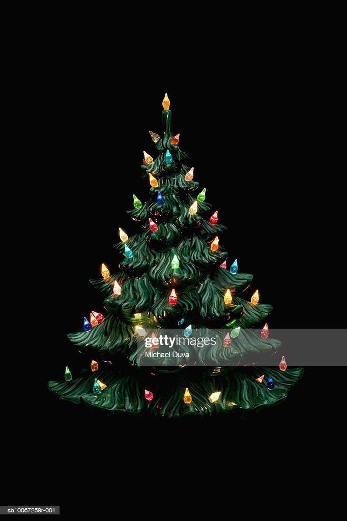 Ceramic Christmas Tree On Black Background Stock Photo Getty Images