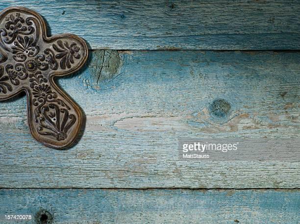 Ceramic Cross on Weathered Wood - XXXL