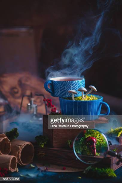 Ceramic cups of tea with mushrooms in a wizard workplace. Magic still life with smoke, scrolls bird skulls, and magnifying glass.