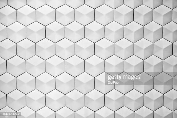 ceramic hexagon shaped 3d tiles on exterior wall - 網状 ストックフォトと画像