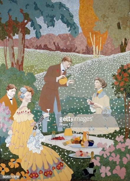 Ceramic mosaic depicting a picnic in the country. Dated 1906.