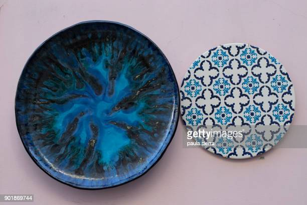 ceramic plates - ceramic stock pictures, royalty-free photos & images