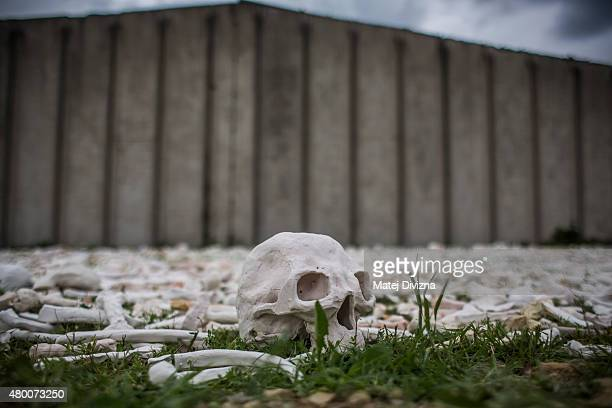 A ceramic skull is placed as part of 'The One Million Bones' project in front of the hall at the Potocari cemetery and memorial near Srebrenica on...