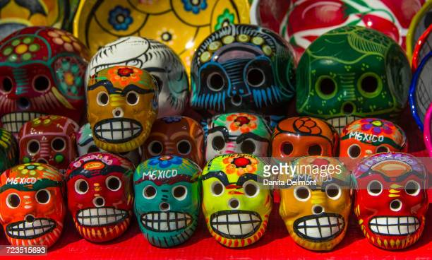 Ceramic skulls for sale at historic Mayan Chichen Itza, Puuc Region, Yucatan, Mexico