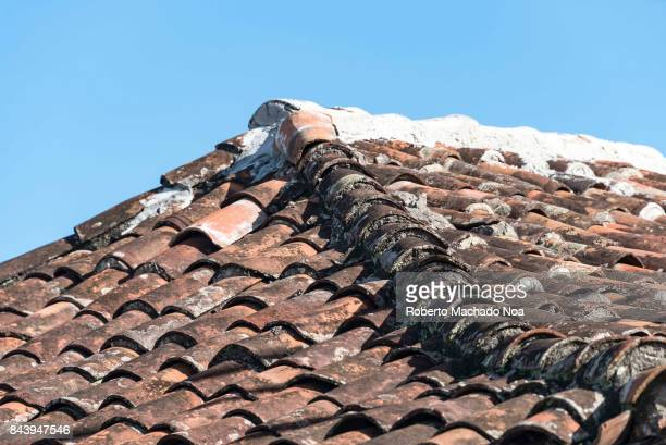 Ceramic terracotta tiles laid on a slanting roof the slightly raised center row blackened more than others