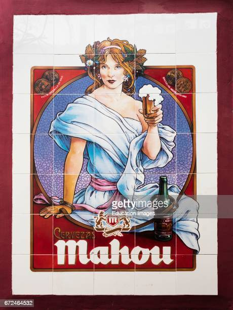Ceramic tiled advertisement for the still popular Spanish brand Mahou beer which was first brewed in 1890